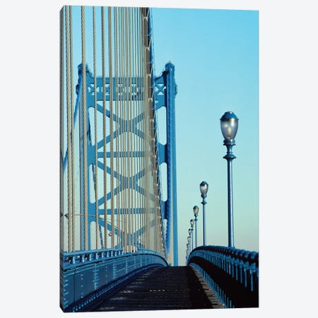 Empty Walkway On Benjamin Franklin Bridge Built In 1923 Over Delaware River Philadelphia Pennsylvania USA 3-Piece Canvas #VTG624} by Vintage Images Canvas Print