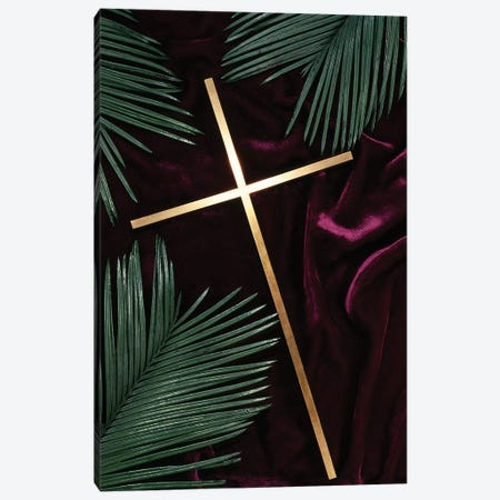 Gold Cross Green Palm Fronds Purple Velvet Background Canvas Print #VTG627} by Vintage Images Art Print