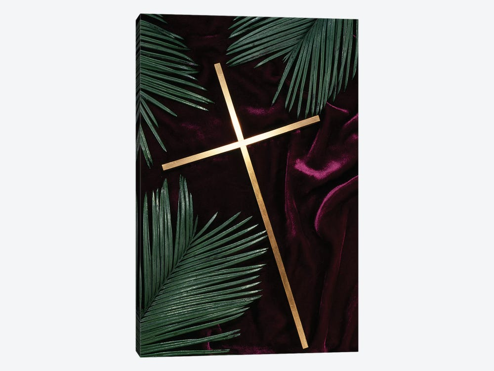 Gold Cross Green Palm Fronds Purple Velvet Background by Vintage Images 1-piece Canvas Print
