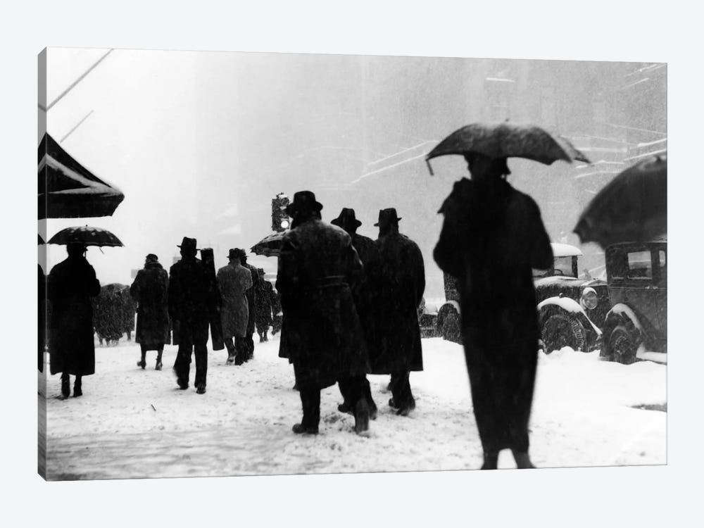 1920s-1930s Crowd Of Anonymous Pedestrians Silhouetted By Snow Storm Walking On City Street Sidewalk 1-piece Canvas Wall Art