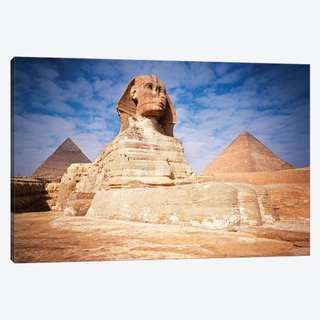 The Great Sphinx Chefren & Cheops Pyramids At Giza, Egypt Canvas Print #VTG644} by Vintage Images Canvas Print