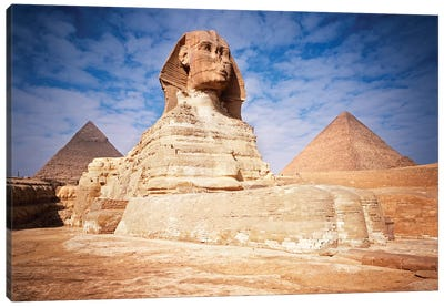 The Great Sphinx Chefren & Cheops Pyramids At Giza, Egypt Canvas Art Print