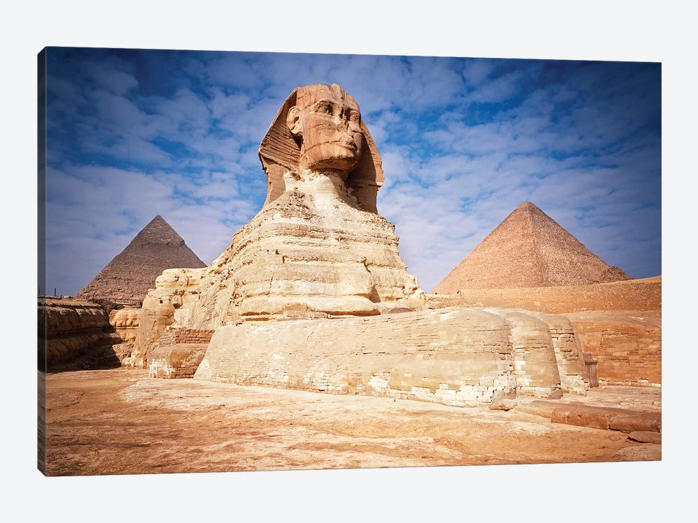 The Great Sphinx Chefren & Cheops Pyramids At Giza, Egypt by Vintage Images 1-piece Canvas Art