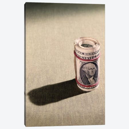 1970s Red Elastic Rubber Bands Around Roll Of One Dollar Bills Canvas Print #VTG647} by Vintage Images Canvas Print
