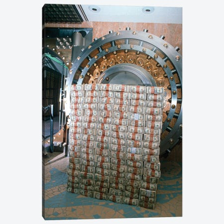 Money Stacked By Bank Vault I Canvas Print #VTG649} by Vintage Images Canvas Art