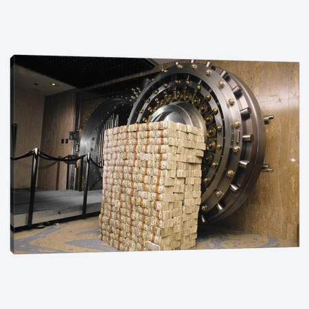 Money Stacked By Bank Vault II 3-Piece Canvas #VTG650} by Vintage Images Art Print