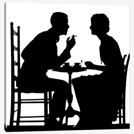 1920s 1930s Silhouette Of Anonymous Couple Sitting At Tea Table With Teacups Man Smoking Cigarette Canvas Print #VTG652} by Vintage Images Art Print