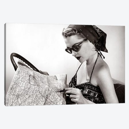 1950s Woman Wearing Bandana Sunglasses & Halter Top Marking Road Map Canvas Print #VTG656} by Vintage Images Canvas Wall Art