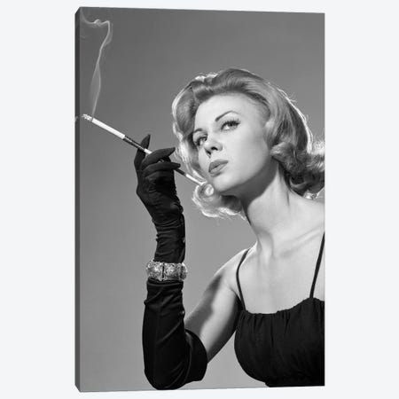 1960s Sexy Sultry Woman In Black Evening Dress Long Black Gloves Bracelet Smoking Cigarette In Long Cigarette Holder 3-Piece Canvas #VTG658} by Vintage Images Canvas Art Print