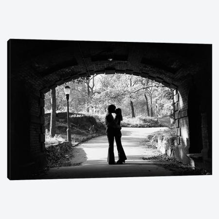 1960s Silhouette Of Anonymous Young Couple Embracing Kissing At Entrance To Central Park Tunnel New York City Usa Canvas Print #VTG659} by Vintage Images Canvas Print