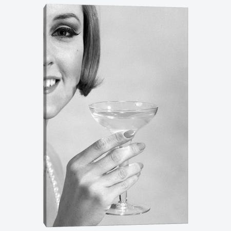 1960s Smiling Woman Wearing Pearls Offering A Toast Looking At Camera Canvas Print #VTG660} by Vintage Images Canvas Wall Art