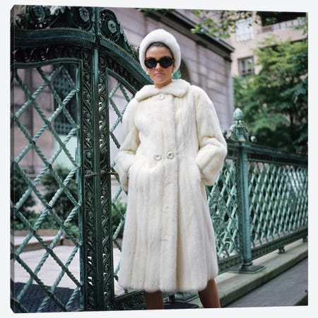 1960s Woman Wearing White Fur Coat Hat Sunglasses By Wrought Iron Gate Clothes Canvas Print #VTG661} by Vintage Images Canvas Art