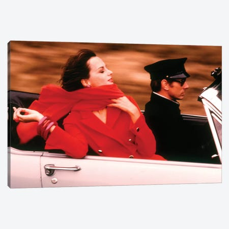 1970s Stylish Woman Red Dress Scarf Driving Open Air Convertible Sports Car Chauffeur Style Fashion Wealth Luxury Canvas Print #VTG662} by Vintage Images Canvas Artwork
