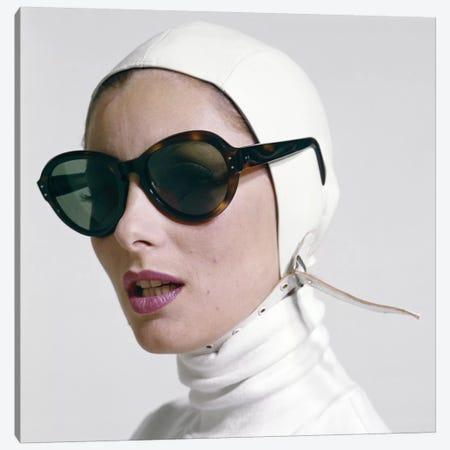 1970s Portrait Smiling Woman Wearing Designer Fashion White Turtle Neck Leather Aviator Helmet Large Tortoise Shell Sunglasses 3-Piece Canvas #VTG663} by Vintage Images Canvas Art