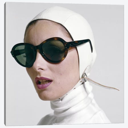 1970s Portrait Smiling Woman Wearing Designer Fashion White Turtle Neck Leather Aviator Helmet Large Tortoise Shell Sunglasses Canvas Print #VTG663} by Vintage Images Canvas Art