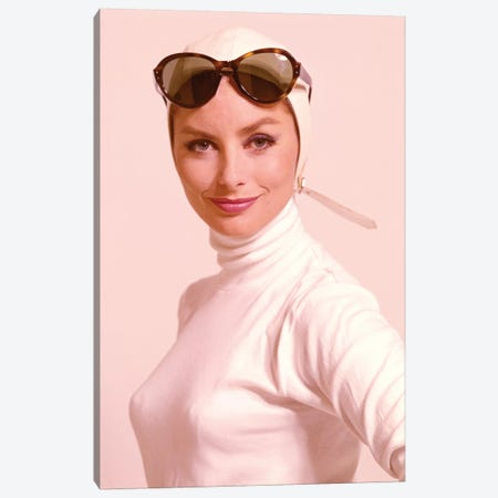 1970s Smiling Woman Wearing Designer Fashion White Turtle Neck Top White Leather Aviator Helmet Large Tortoise Shell Sunglasses 3-Piece Canvas #VTG664} by Vintage Images Canvas Art Print