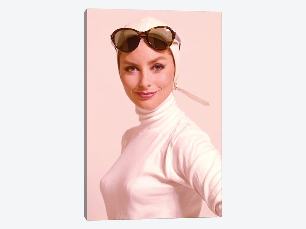 1970s Smiling Woman Wearing Designer Fashion White Turtle Neck Top White Leather Aviator Helmet Large Tortoise Shell Sunglasses by Vintage Images 1-piece Canvas Artwork