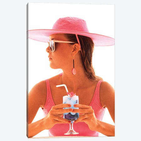 1980s Young Woman In Bathing Suit Having A Drink Canvas Print #VTG665} by Vintage Images Canvas Art Print