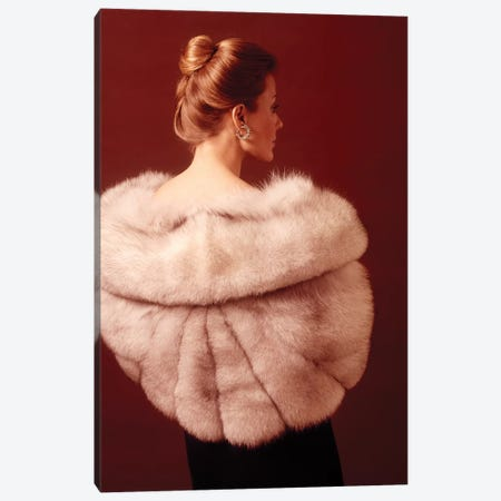 1970S Elegant Upscale Woman Wearing Silver Fur Stole Canvas Print #VTG668} by Vintage Images Canvas Wall Art