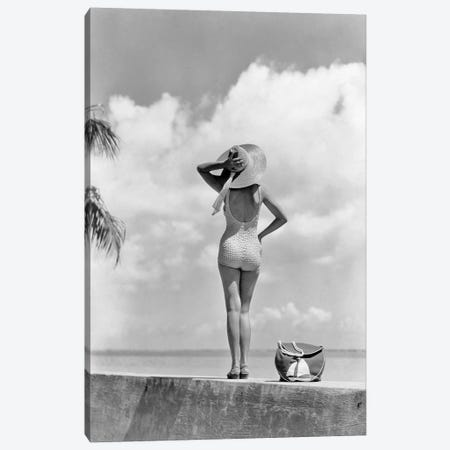 1930S 1940S Anonymous Womanstanding On Tropical Beach Wall Canvas Print #VTG670} by Vintage Images Canvas Art Print