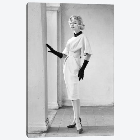 1960S Elegant Blonde Woman Wearing Dress With Full Draped Sleeves Long Gloves Canvas Print #VTG671} by Vintage Images Canvas Print