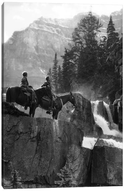 1920s 1930s Couple Man Woman On Horses By Waterfall In Pine Forest Giants Steps Paradise Valley Alberta Canada Canvas Art Print