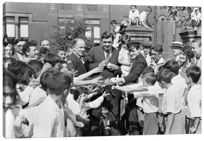 1920s Baseball Player Babe Ruth And Actor Harold Lloyd Greet Orphans Brooklyn New York City USA Canvas Art Print