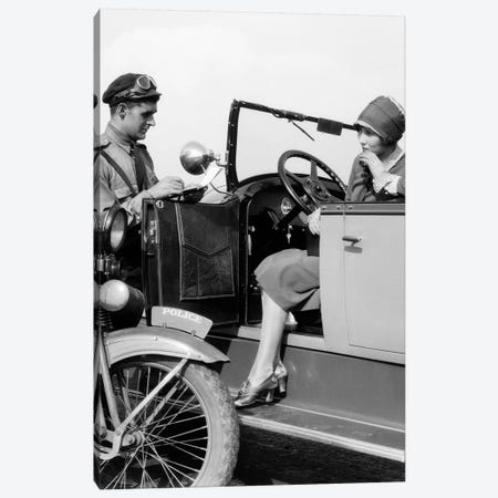 1920s Woman In Car Getting Ticketed By Motorcycle Cop Canvas Print #VTG677} by Vintage Images Canvas Wall Art