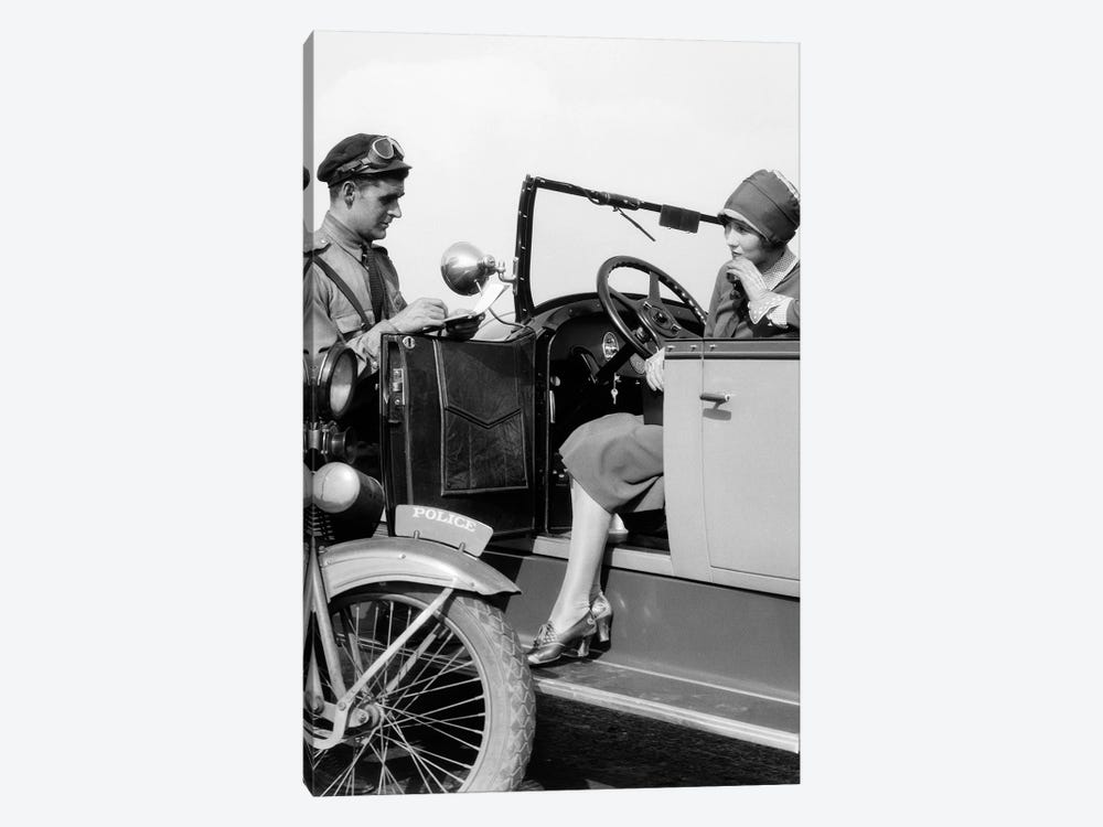 1920s Woman In Car Getting Ticketed By Motorcycle Cop by Vintage Images 1-piece Canvas Art