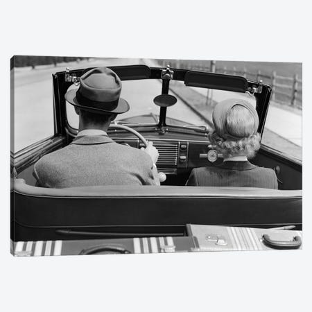 1930s 1940s Rear View Couple Driving Together In Convertible Luggage In Back Seat 3-Piece Canvas #VTG679} by Vintage Images Canvas Art Print