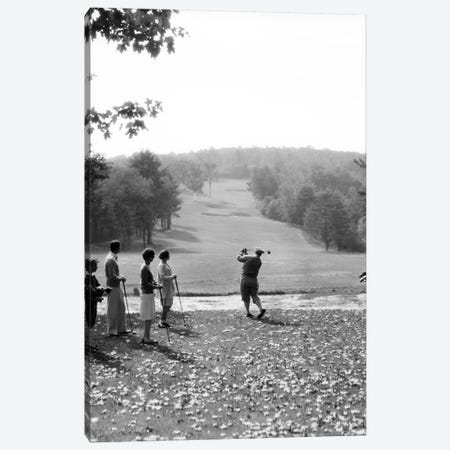 1920s-1930s Group Of Golfers Teeing Off 2 Men 2 Women And 2 Caddies At The Country Club Pittsfield Berkshires Ma Canvas Print #VTG67} by Vintage Images Canvas Print