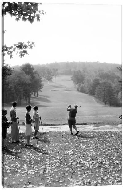 1920s-1930s Group Of Golfers Teeing Off 2 Men 2 Women And 2 Caddies At The Country Club Pittsfield Berkshires Ma Canvas Art Print