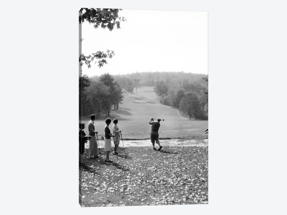 1920s-1930s Group Of Golfers Teeing Off 2 Men 2 Women And 2 Caddies At The Country Club Pittsfield Berkshires Ma by Vintage Images 1-piece Canvas Print