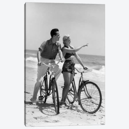 1930s Couple Man Woman Biking On Beach Woman Pointing To Horizon Canvas Print #VTG681} by Vintage Images Canvas Art