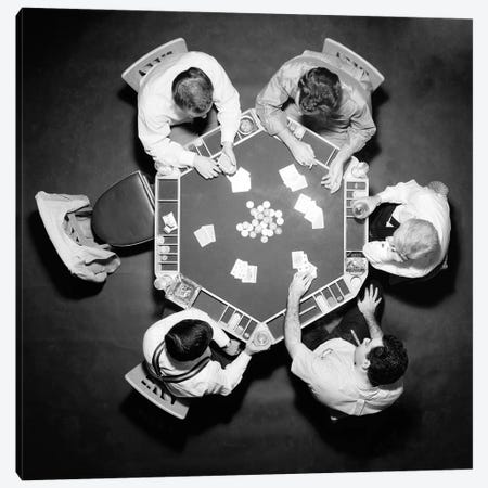 1950s High Angle Overhead View Of Five Anonymous Men Playing Poker Canvas Print #VTG688} by Vintage Images Canvas Artwork