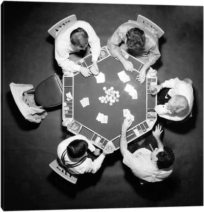 1950s High Angle Overhead View Of Five Anonymous Men Playing Poker Canvas Art Print