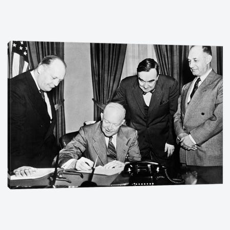 1950s President Dwight D. Eisenhower Signing A Proclamation Canvas Print #VTG689} by Vintage Images Canvas Art