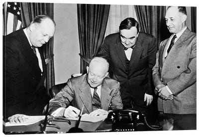1950s President Dwight D. Eisenhower Signing A Proclamation Canvas Art Print