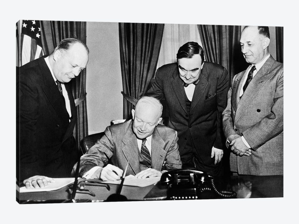 1950s President Dwight D. Eisenhower Signing A Proclamation 1-piece Canvas Art Print