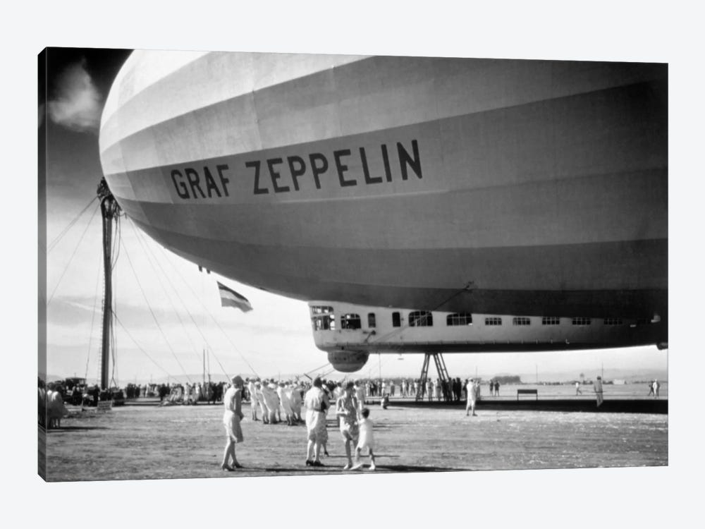 1920s-1930s People Looking At Gondola Of Graf Zeppelin Lz-127 German Rigid Lighter Than Air Airship by Vintage Images 1-piece Canvas Art