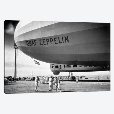 1920s-1930s People Looking At Gondola Of Graf Zeppelin Lz-127 German Rigid Lighter Than Air Airship Canvas Print #VTG68} by Vintage Images Canvas Wall Art