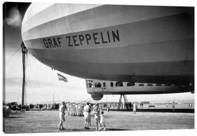 1920s-1930s People Looking At Gondola Of Graf Zeppelin Lz-127 German Rigid Lighter Than Air Airship Canvas Art Print