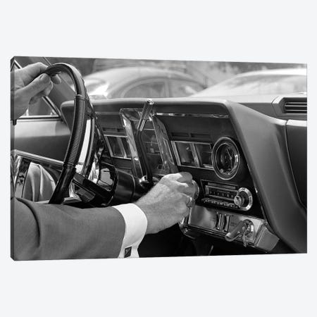 1960s Hand On Car Radio Dials And Steering Wheel Canvas Print #VTG692} by Vintage Images Art Print
