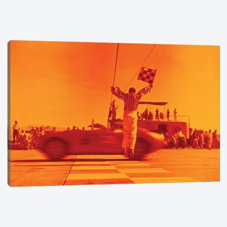 1970s Man Waving Checkered Flag At Finish Line End Of Sports Car Race Orange Filter Canvas Print #VTG697} by Vintage Images Canvas Wall Art