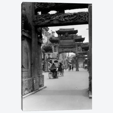 1920s-1930s Rickshaw On Street In Canton China Under Ornate Carved Arches Ancient Pai-Lous Chinese Architecture Canvas Print #VTG69} by Vintage Images Canvas Wall Art