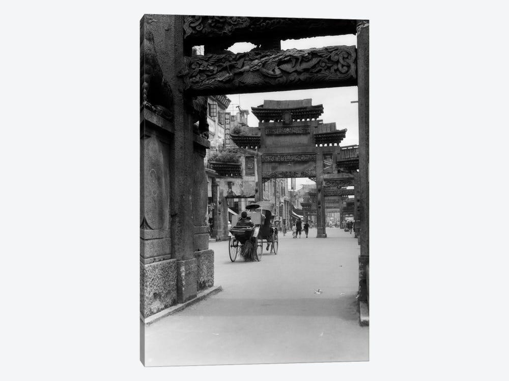 1920s-1930s Rickshaw On Street In Canton China Under Ornate Carved Arches Ancient Pai-Lous Chinese Architecture by Vintage Images 1-piece Canvas Art Print