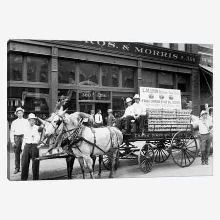 1890s Mule Drawn Fruit Delivery Wagon On City Street Surrounded By Men Looking At Camera Canvas Print #VTG6} by Vintage Images Canvas Wall Art