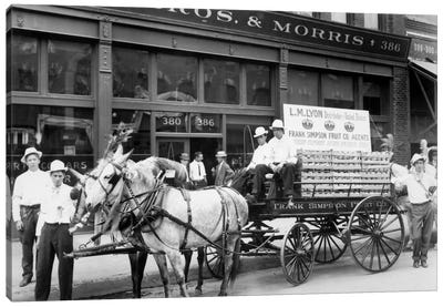 1890s Mule Drawn Fruit Delivery Wagon On City Street Surrounded By Men Looking At Camera Canvas Art Print