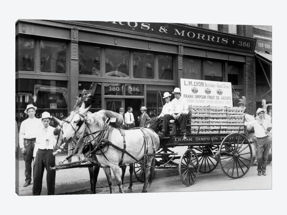 1890s Mule Drawn Fruit Delivery Wagon On City Street Surrounded By Men Looking At Camera 1-piece Canvas Wall Art