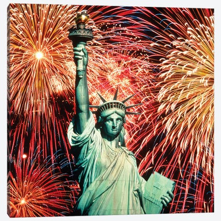 1980s Fourth Of July Fireworks And The Statue Of Liberty Canvas Print #VTG701} by Vintage Images Art Print
